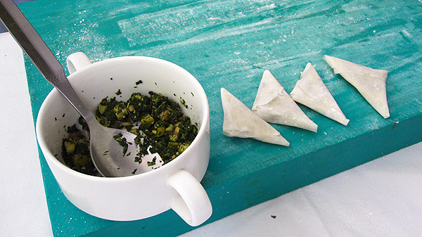 Catalonian Style Spinach, Raisin and Pine Nut Triangles in Filo