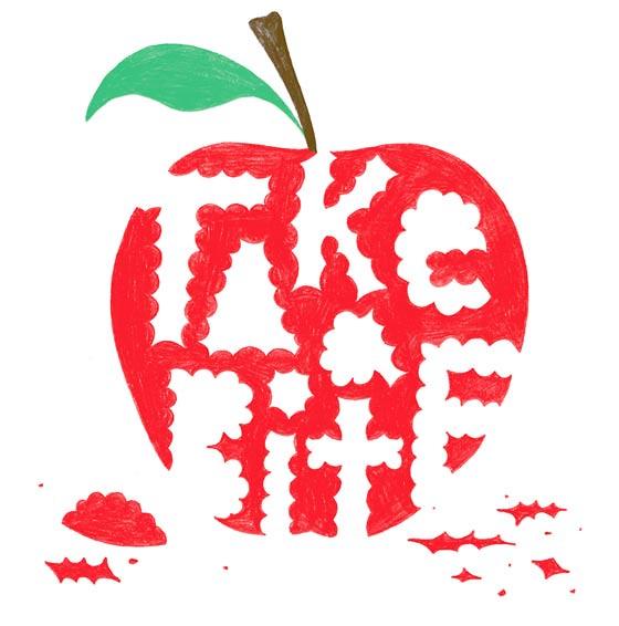 tipografía en manzana