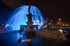 Archibald Fountain Illuminated in Blue (Craig Jewell Photography) Tags: blue wet fountain rain night iso800 glow sydney eerie f16 nsw newsouthwales glowing hydepark raining archibaldfountain ghostly 2010 archibald 50sec ef1635mmf28liiusm canoneos5dmarkii cpjsm craigjewellphotography