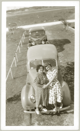 Two women on a bumper