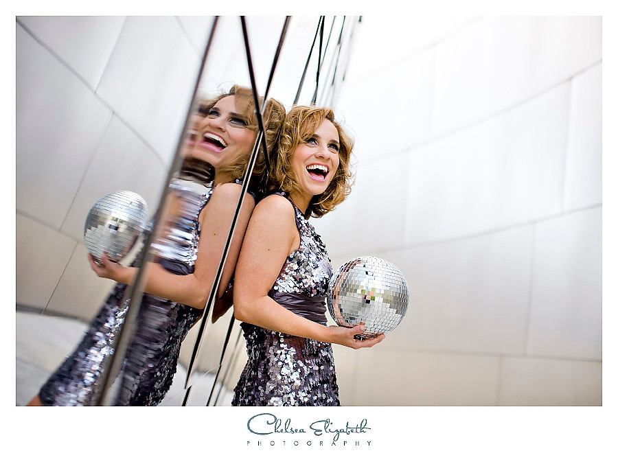 Silver disco ball singer headshot los angeles photographer