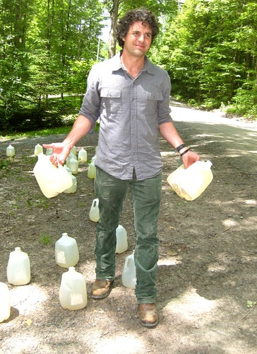 Mark Ruffalo with Sautners' contaminated well water in Dimock