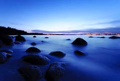 Twilight (m4calliope) Tags: blue beach night landscape twilight singapore rocks long exposure ponggol