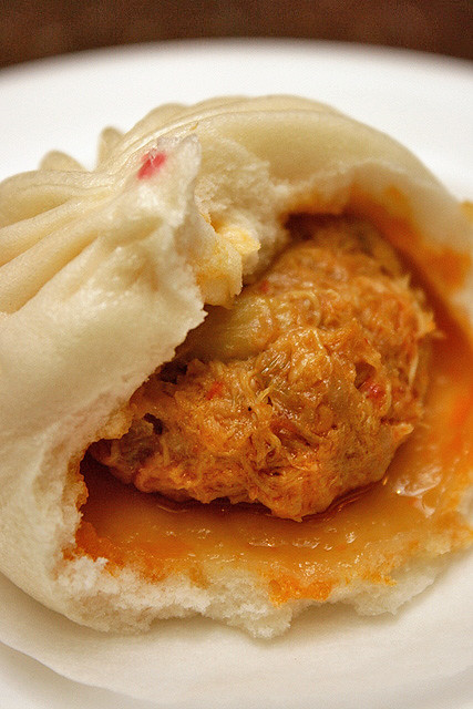 Steamed Chilli Crab and Pork Bun 辣蟹鲜肉包, S$3.80 (3pcs)