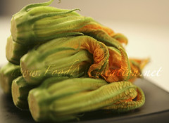 Flowers - Zucchini Blossoms on a Black Plate (H)