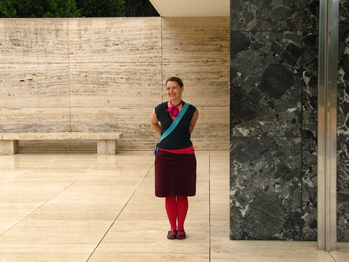 me in the Mies van der Rohe Barcelona Pavilion