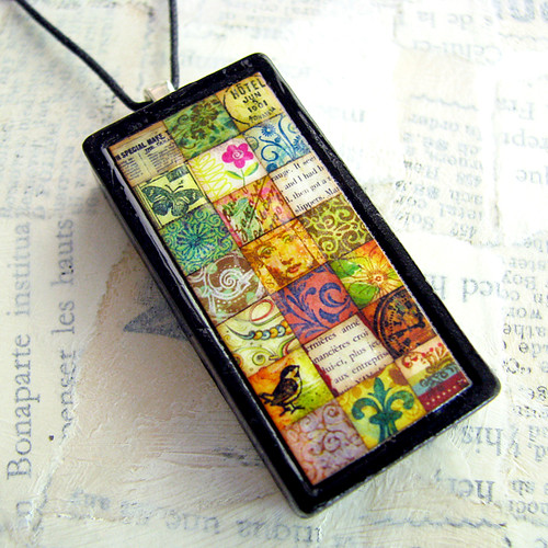 """Sophisticated Squares"" Handmade Altered Domino Pendant"