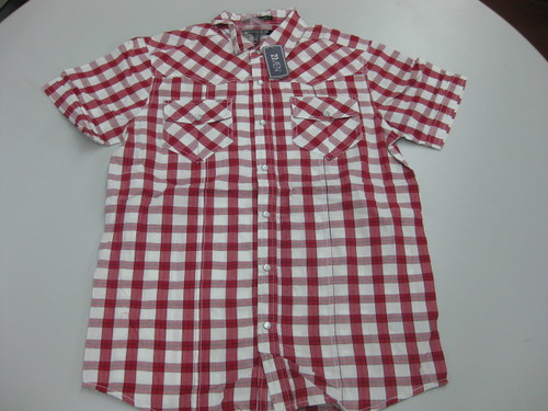 red checkered top for men, P519