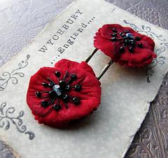 Poppy Clips (Wychbury Designs) Tags: uk red black flower handmade sunday velvet fabric poppy donation etsy remembrance hairclips bobbypins folksy wychbury