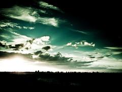 Alba verde, green sunshine!  (davdenic  in the sky ) Tags: morning trees light sunset sky cloud sun tree water alberi night sunrise dark tramonto nuvole cloudy alba fiume cielo laguna sole albero notte notturno mattino sunrising 1260mm davdenic daviddenicol daviddenicolo