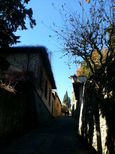 Fiesole, looking up via San Francesco, which leads towards scenic lookout