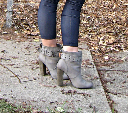 rosegold boots+gray ankle boots