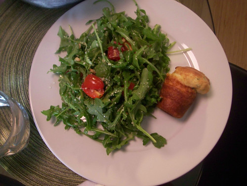 Herbed Popover with a local arugula salad