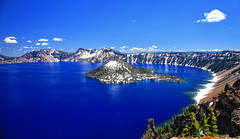 Fifty Shades of Blue, (2 of 2) (louelke - will be gone for 3 weeks) Tags: craterlakenationalpark craterlake oregon deep blue wizardisland volcano caldera