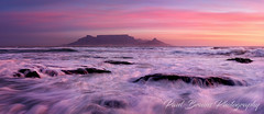Table Mountain Pink Sky Pano (Panorama Paul) Tags: paulbruinsphotography wwwpaulbruinscoza southafrica westerncape capetown tablemountain blaauwbergbeach waves beach sunset nikond800 nikkorlenses nikfilters panorama