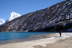 At the beach of the third lake of Gokyo