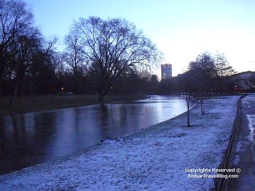 Frozen Lake In Regents Park During Sunrise