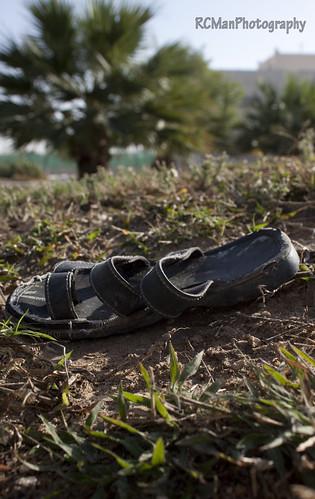 tree grass flat sandals