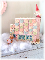 Vintage Musical Sugar House (Bluebird Becca) Tags: santa christmas pink blue house holiday green glitter pastel cottage gingerbread sugar musical chic decor wafer shabby