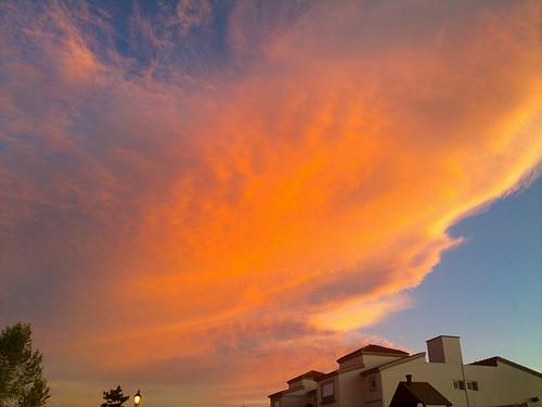 Fiery dusk cloud