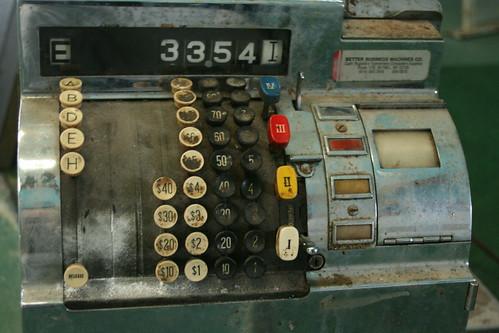 Mechanical push button cash register