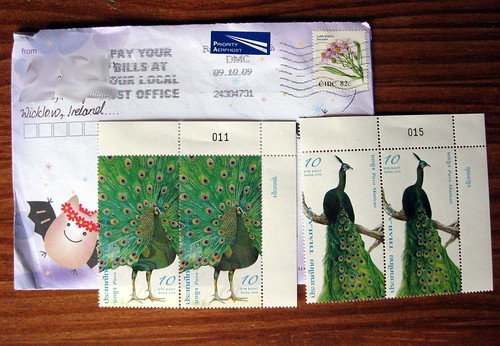 Thai peacock stamps, from Ireland!