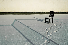 Ceci n'est pas... (emuchka) Tags: winter england snow art lines wall composition contrast fence reflections chair shadows surrealism rene footprints magritte pop story popart windsor lonely minimalism bizzare thisisnotachair