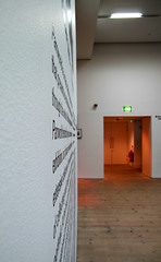 Entrance to Parrworld (paul_burdon) Tags: abstract geometric lines wall words angle baltic gateshead fireexit converge writingonthewall martinparr converging acute converginglines printedword balticcentre acuteangle parrworld