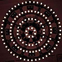 Hit Your Target (☮Kate Monster) Tags: new york city newyorkcity light newyork gold lights pretty pov central perspective grand lookingup pointofview chandelier grandcentralstation target bullseye bulbs grandcentralterminal