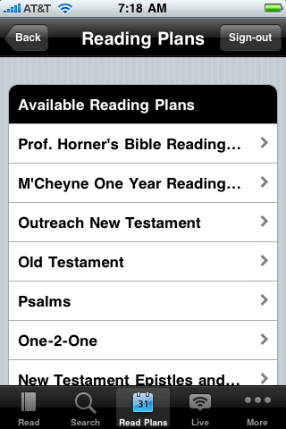 Available Bible Reading Plans
