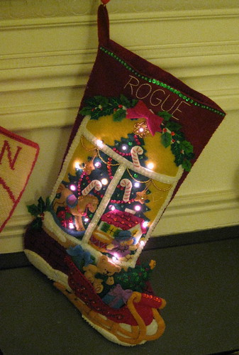 Rogue's stocking all lit up!