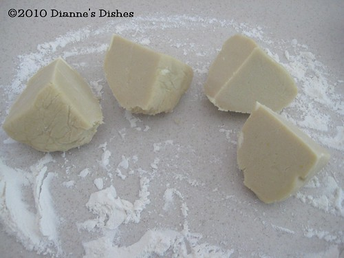 Lemon Sugar Cookies: Dough Cut Into Quarters