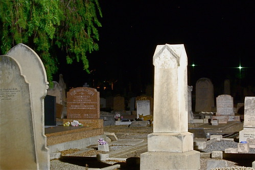 In the cemetery at night....
