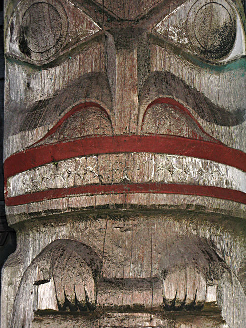 close-up shot of beaver figure, frontal totem, Chief Son-i-Hat Whale House, Kasaan, Alaska
