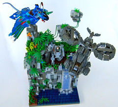 Avatar Battle Vignette with Navi, Ikran, AMP Suit & Samson (Imagine) Tags: plants mountains toys waterfall lego avatar amp samson pandora navi vignette aerospatiale ikran floatingmountains ampsuit sa2samson