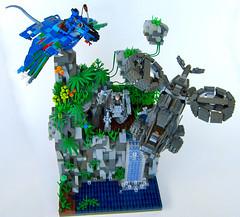 Avatar Battle Vignette with Navi, Ikran, AMP Suit & Samson (Imagine) Tags: plants mountains toys waterfall lego avatar amp samson pandora navi vignette aerospatiale ikran floatingmountains ampsuit sa2samson