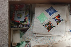 Box of Cathedral Window Quilt stuff