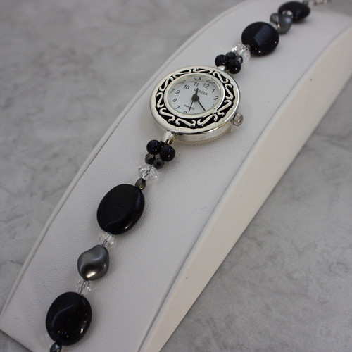 Blue Goldstone Grey Pearl and Crystal Watch