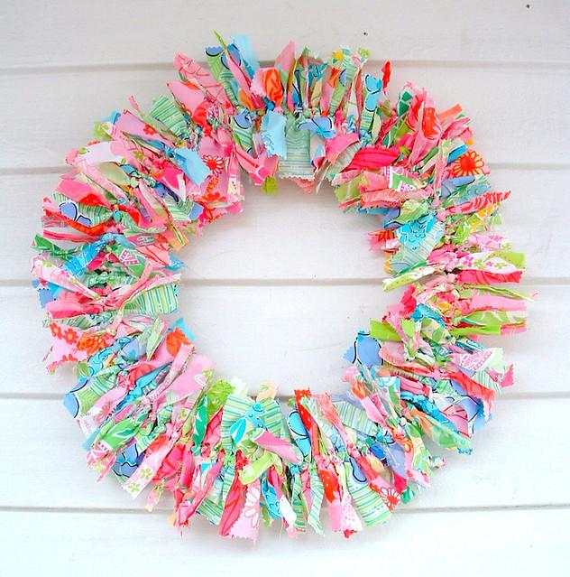 preppy wreath homedecor textileart walldecor wallhanging shabbychic ragwreath fabricwreath lillypulitzerfabric fabricrag