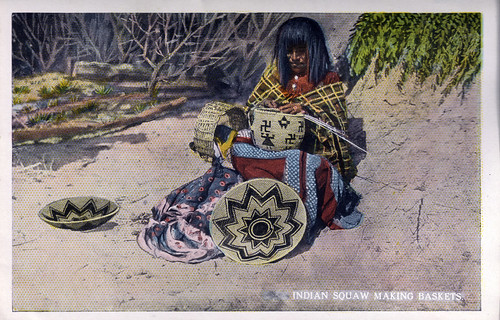 Indian Squaw Making Baskets