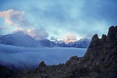 First Light (Bodie Bailey) Tags: california sky snow film fog clouds rocks roadtrip kodachrome mountwhitney owensvalley 395 highway395 alabamahills inyocounty