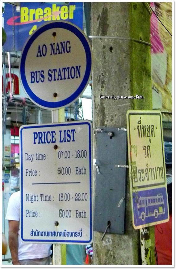 Ao Nang Bus Station Rates