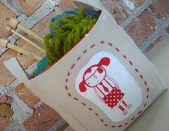 Fabric Basket, Aunty Cookie 01 (weepereas) Tags: red white bucket handmade linen embroidery fabric patch applique embroidered handstitched auntycookie fabricbasket fabricbasketauntycookie
