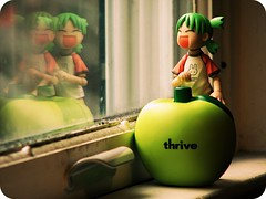 thrive. (willycoolpics.) Tags: reflection green window toy action double reflect figure picnik thrive yotsuba revoltech
