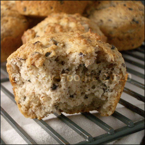 almond muffins with cocoa nibs close-up