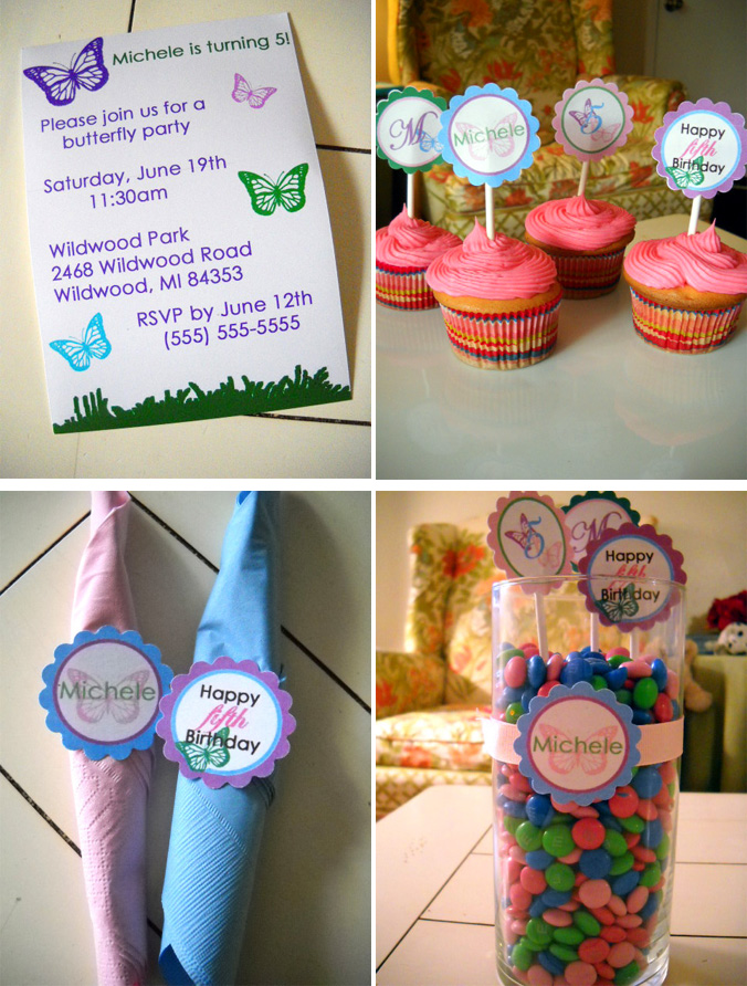 Girl Butterfly Birthday Party Collection