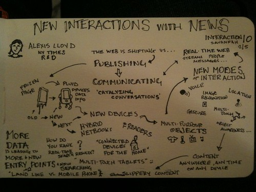Exciting stuff around the corner; new interactions w/ news & @nytimes. Thanks @alexislloyd! #SketchNotes #ixd10