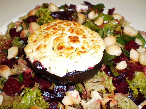Beetroot, goat's cheese & macadamia salad