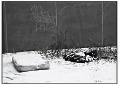 All Night Long - Agfa Scala (swanksalot) Tags: bw snow chicago graffiti mattress westloop emptiness agfascala snowporn swanksalot sethanderson