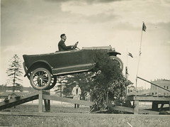 "Overland car jumping a ""fallen bridge"" in a promotional stunt, 1920 - 1929 (Powerhouse Museum Collection) Tags: 1920s cars car promotion sepia advertising humor sydney australia newsouthwales promotional willys stunt powerhousemuseum 19201929 carjumping xmlns:dc=httppurlorgdcelements11 dc:identifier=httpwwwpowerhousemuseumcomcollectiondatabaseirn141218"